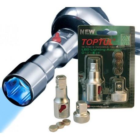 "Redashe TOPTUL Professional LED Lighting Adaptor 1/2""F x 3/8""M"