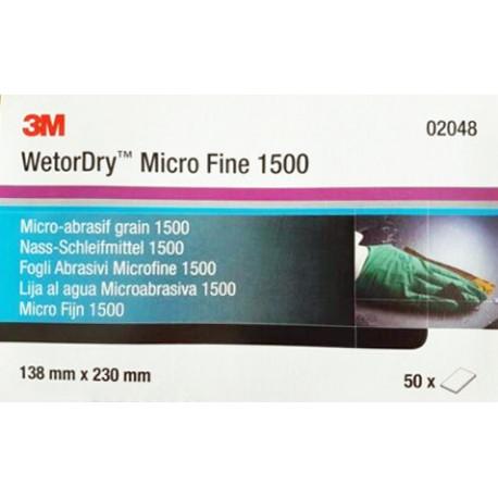 3M P1500, 138mm x 230mm, Wetordry Sheet 401Q, Qty of 50 - by Grove