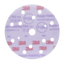 3M P600 150mm, Hookit Purple Finishing Film Disc 260L+, 15 H, Qty of 50