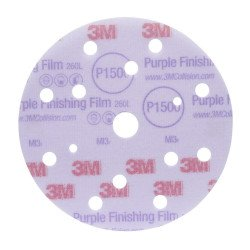 3M P1000 150mm, Hookit Purple Finishing Film Disc 260L+, 15 H, Qty of 50