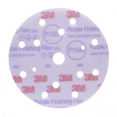 3M P1000 150mm, Hookit Purple Finishing Film Disc 260L+, 15 H, Qty of 50