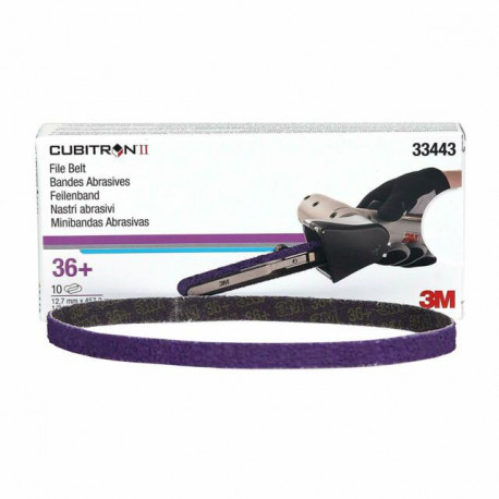 3M P36+ 12.7 x 457.2mm Cubitron II File Belt 786F, Qty of 10 - by Grove