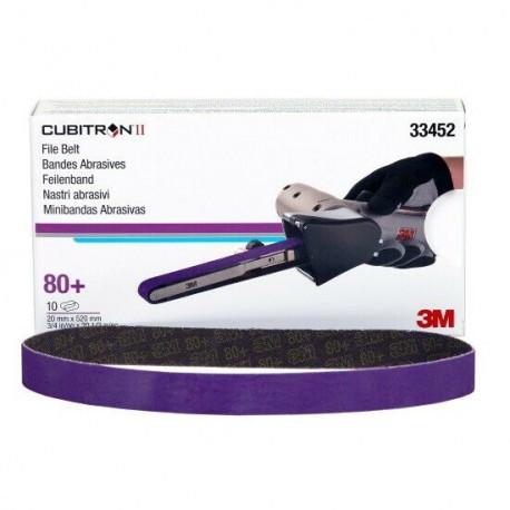 3M P80+ 20 x 520mm Cubitron II File Belt 786F, Qty of 10 - by Grove