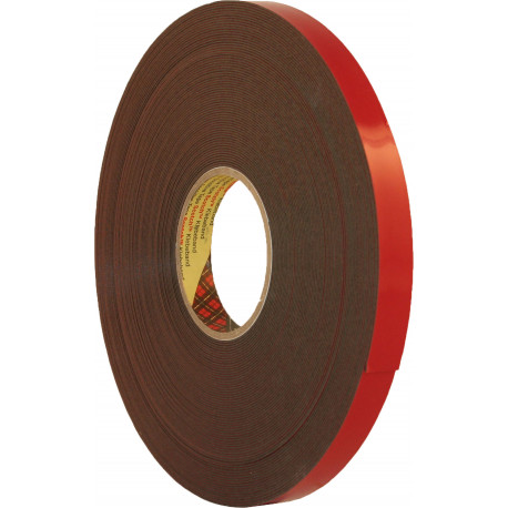 3M 6mm x 20m Black Double Sided Acrylic Plus Tape PT1100 - by Grove