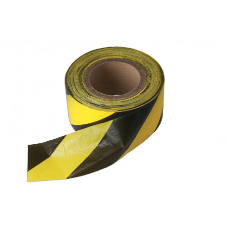 Yellow & Black 75mm x 500m Heavy Duty Non Adhesive Barrier Tape