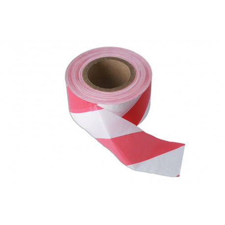 Red & White 75mm x 500m Heavy Duty Non Adhesive Barrier Tape