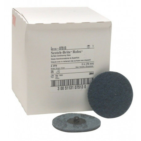 3M 76mm Blue Roloc Very Fine Conditioning Disc, Qty of 25