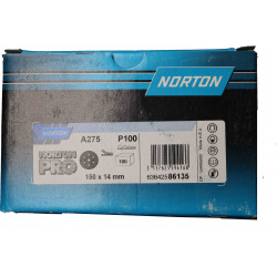 Norton P100 A275 Norton Pro Grip Discs 7 Holes, 150mm, Box of 100.