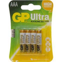 GP Batteries 'Ultra' Alkaline AAA Batteries, Pack of 4