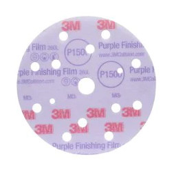 3M P1500 150mm Purple Hookit Discs 15H, 260L ,Pack of 50